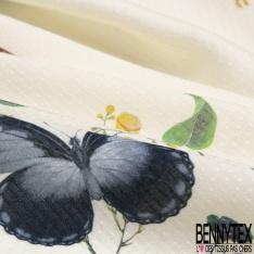 Fibrane Viscose Imprimé Plumeti Motif branche de fleur grand papillon et oiseau Fond Ecru