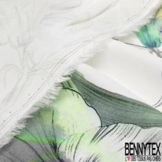 Fibrane Viscose Imprimé Motif grande fleur amaryllis Fond Blanc