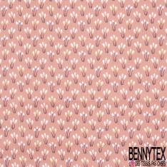 coton imprimé motif petite plante marron violet Fond saumon