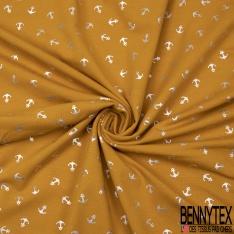 Jersey Coton Elasthanne Imprimé Ancre Mylar Argent fond Framboise