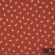 Jersey Coton Elasthanne Imprimé Ancre Mylar Argent fond Orange Brûlé