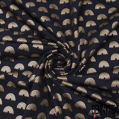 Jersey Coton Elasthanne Imprimé Arc en Ciel Mylar Or fond Noir