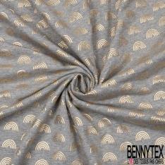 Jersey Coton Elasthanne Imprimé Arc en Ciel Mylar Or fond Gris Chiné Clair