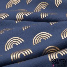 Jersey Coton Elasthanne Imprimé Arc en Ciel Mylar Or fond Indigo