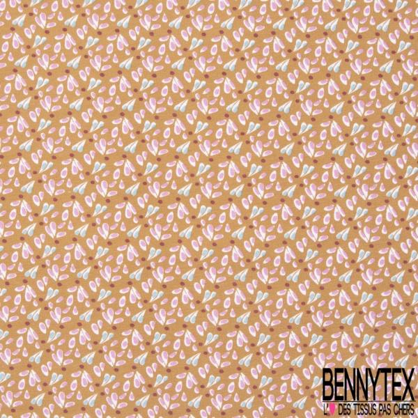 Jersey Coton Elasthanne Imprimé Petite Pétale de Fleur Fantaisie Fond Camel