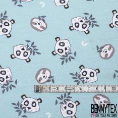 Jersey Coton Elasthanne Imprimé Tête de Panda et Paresseux fond vert d'eau