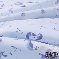 Coton imprimé Motif Licorne Charmante Séduisante fond Bleu Pastel
