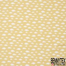 Jersey Coton Elasthanne Imprimé Nuage Blanc fond Jaune