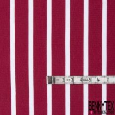 Jersey Coton Elasthanne Imprimé Rayure Horizontale Cerise Blanc