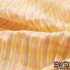 Coton Seersucker imprimé Quadrillage ton Jaune Lilas Corail Saumon Blanc