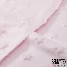 Minky Etoile effet Gaufré Uni Rose Layette