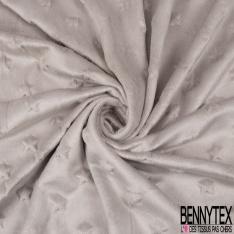 Minky Etoile effet Gaufré Uni Gris Perle