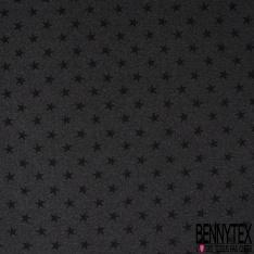 Molleton Léger Bouclette Etoile Noir Effacée fond Gris Anthracite Chiné