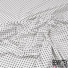 Jersey Coton Elasthanne Imprimé Dots Noir fond Blanc
