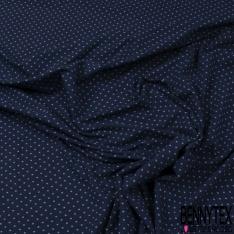 Jersey Coton Elasthanne Imprimé Dots Blanc fond Marine