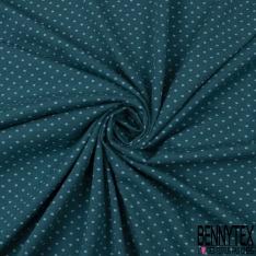 Jersey Coton Elasthanne Imprimé Dots Bleu Ciel fond Indigo