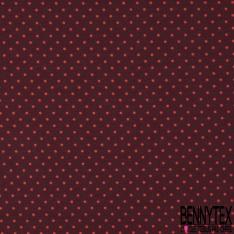 Jersey Coton Elasthanne Imprimé Dots Rouge fond Prune