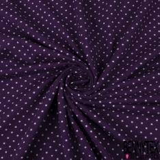 Jersey Coton Elasthanne Imprimé Dots Parme fond Violet