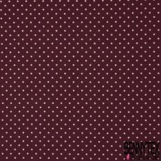 Jersey Coton Elasthanne Imprimé Dots Rose fond Prune