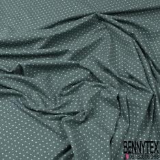 Jersey Coton Elasthanne Imprimé Dots Blanc fond Anthracite