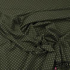Jersey Coton Elasthanne Imprimé Dots Blanc fond Sauge