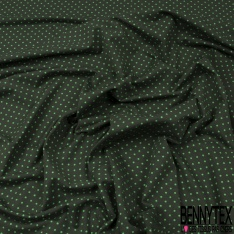 Jersey Coton Elasthanne Imprimé Dots Vert Brésil fond Kaki
