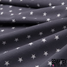 Jersey Coton Elasthanne Imprimé Petite Etoile Blanche fond Noir