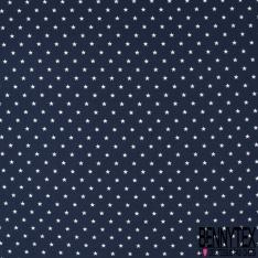 Jersey Coton Elasthanne Imprimé Petite Etoile Blanche fond Marine