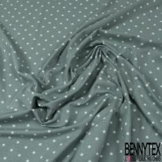 Jersey Coton Elasthanne Imprimé Petite Etoile Blanche fond Rouge
