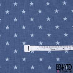 Jersey Coton Elasthanne Imprimé Petite Etoile Ciel fond Cérulé