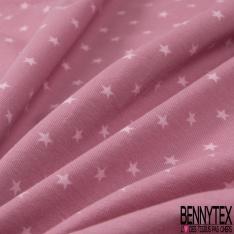 Jersey Coton Elasthanne Imprimé Petite Etoile Rose Pâle fond Prune