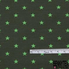 Jersey Coton Elasthanne Imprimé Petite Etoile Anis fond Kaki