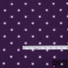 Jersey Coton Elasthanne Imprimé Petite Etoile Parme fond Violet