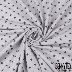 Jersey Coton Elasthanne Imprimé Petite Etoile Anthracite fond Perle