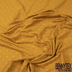 Jersey Coton Elasthanne Imprimé Petite Etoile Noir fond Blanc cassé