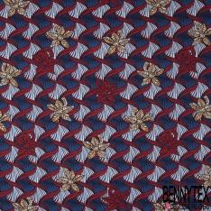 Jersey Viscose imprimé Wax Africain ton Bleu Rouge Blanc
