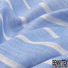 Gaze de Coton Rayée Verticale Bleu Blanc Lurex Or Vielli