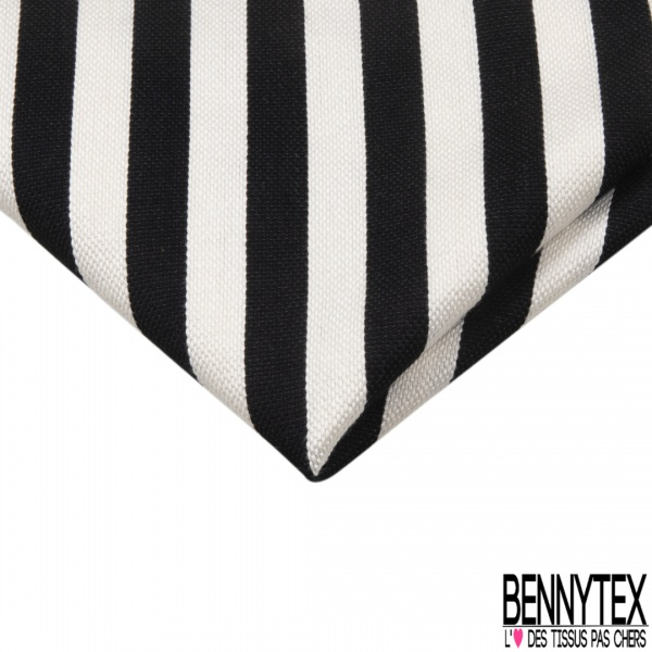 Coupon 3m Coton Polyester Demi Natté Rayure Horizontale Noir Ecru