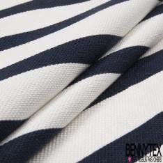 Coupon 3m Coton Polyester Demi Natté Rayure Horizontale Navy Ecru
