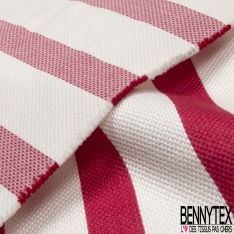 Coupon 3m Coton Polyester Demi Natté Rayure Horizontale Rouge Ecru