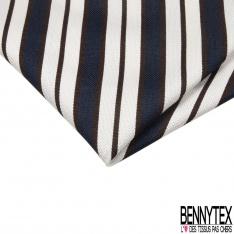 Coupon 3m Coton Polyester Demi Natté Rayure Horizontale Marine Marron Ecru