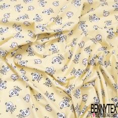 Jersey Coton Elasthanne Imprimé Tête de Panda et Paresseux fond jaune Pastel