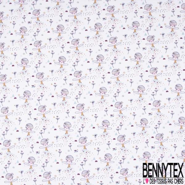 Jersey Coton Elasthanne Imprimé Eléphant Savane Luxuriante fond Blanc