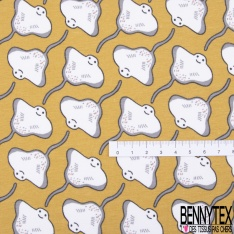 Jersey Coton Elasthanne Imprimé Petite Fée Rat de l'Opéra fond Blanc