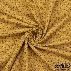 Jersey Coton Elasthanne Imprimé Papa Ours Haut de Forme fond Corail
