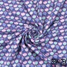 Jersey Coton Elasthanne Imprimé Petit Oiseau Fantaisie Forêt en folie fond Rose Corail