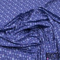 Jersey Coton Elasthanne Imprimé Petite Tulipe Stylisée fond Bleu Turquin