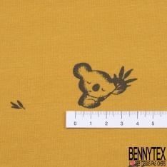 Jersey Coton Elasthanne Imprimé Petite Pensée Sauvage Stylisée fond Blanc