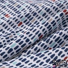 Coton imprimé Motif Rose Tremière fond Bleu Givré