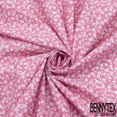 Coton imprimé Motif Petite Pensée ton Rose fond Blanc